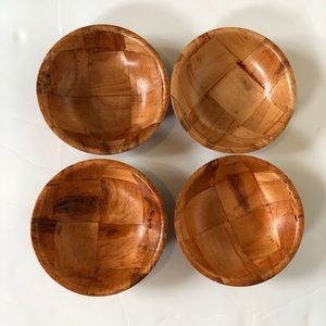"""MCM Vintage Weavewood Parquet Bowls 6"""" Set Of 4"""